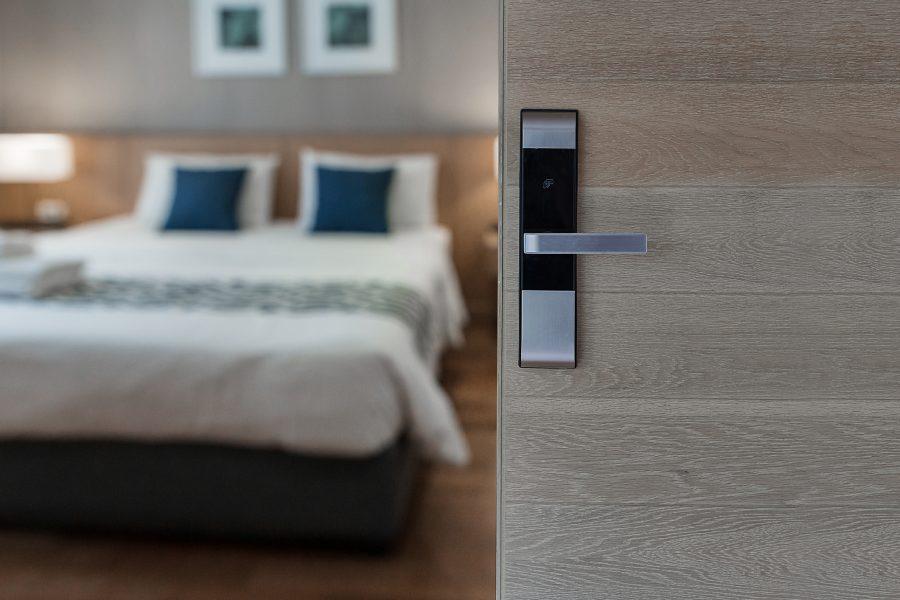 Hotel room , Condominium or apartment doorway